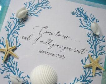 Christian WORD Art Shadowbox Frame 1 Corinthians 13 Coastal Beachy Blue and White w/Shells Faith, Hope and Love Coastal Decor Cottage Style