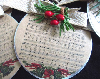 Christian Christmas Ornament Hymn Ornament Sheet Music with Greens, Berries Burlap and Jute