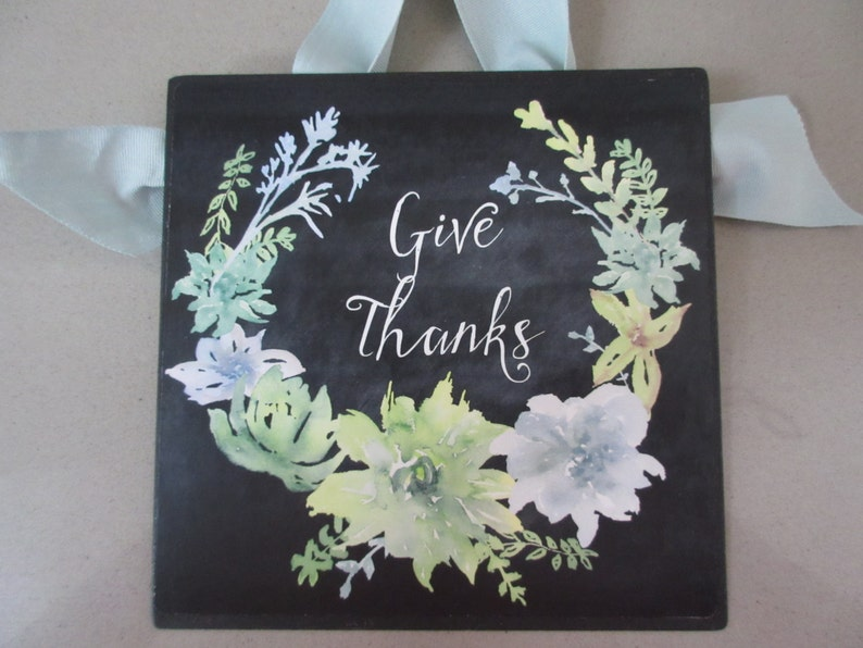 Give Thanks  Wall Art  Metal with Chalkboard Succulents & image 0