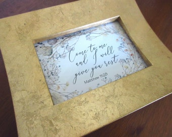 Christian WORD Art Come to Me and I Will Give You Rest Bible Verse Vintage Gold Frame Pastel Wildflowers Matthew 11:28