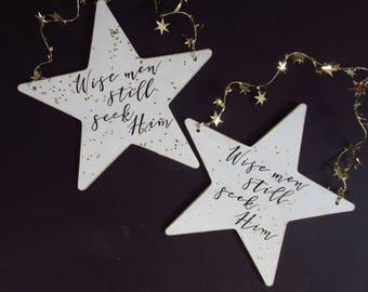 Wise Men Still Seek Him Christian Christmas Ornament Christian Home Decor Star Gold White Black Glitter