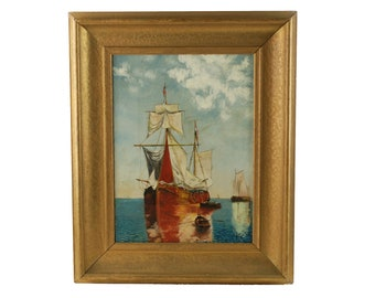 Antique Nautical Oil Painting after Paul Jean Clays 'Sailing Ships' in Gilt Wood Frame