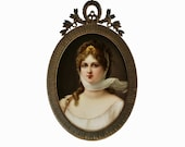 Signed Wagner C.M. Hutschenreuther Hand Painted Porcelain Plaque Queen Louisa of Prussia after Gustav Carl Ludwig Richter in Original Frame