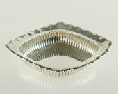 Antique Whiting Sterling Silver Rectangular Open Vegetable Bowl Bon Bon Dish with Fluted Decoration and Scalloped Rim with Scrolls
