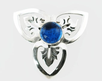 Vintage Maricela Taxco Sterling Silver Brooch with Blue Cabochon