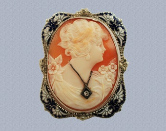 Vintage Signed Carved Shell Cameo Habille Pendant Brooch 14K White Gold with Diamond and Enamel Accents