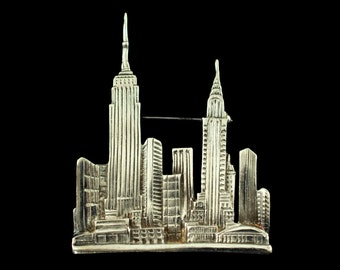 Large Vintage New York City Manhattan Skyline Sterling Silver Brooch Pin