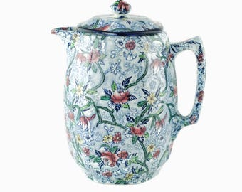 Vintage Ringtons Maling Ware Chintz Blue with Color Transferware Coffee Pot