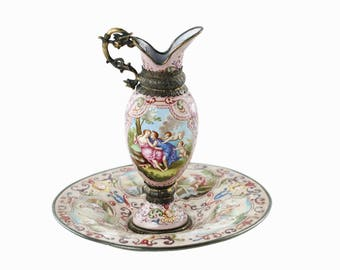 Antique Viennese Hand Painted Enameled Footed Ewer and Matched Underplate