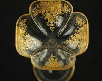 "Antique Moser Gilt Intaglio Bohemian Art Glass 10"" Tall Quatrefoil Goblet with Floral Motif"