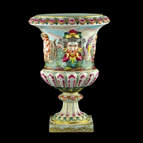 Large Antique Capodimonte Hand Painted Bolted Urn With Putti Etsy