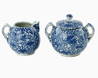 Antique Blue Phoenix Ware Cream and Sugar Set with Notched Handles