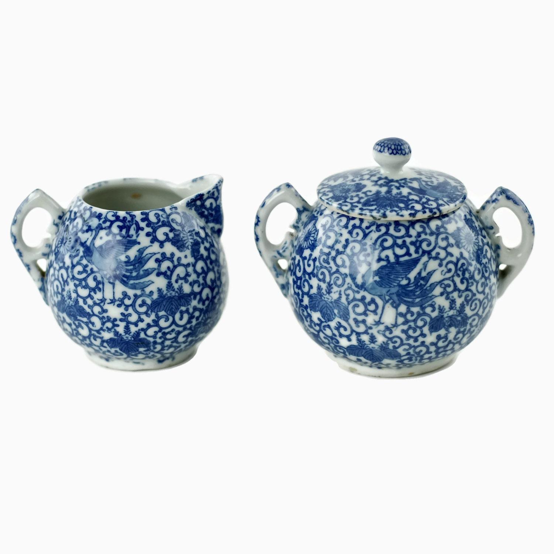 Antik Blau Phoenix Ware Sahne und Zucker Set mit gekerbten