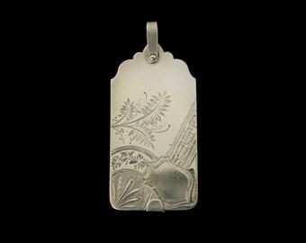 Large Antique Aesthetic Movement Sterling Silver Aide Memoire Pendant by D.S. Spaulding Co. No Monogram