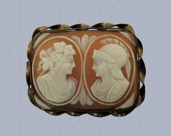 Antique Rectangular Carved Shell Confronted Cameo Brooch Venus and Mars Double Portrait Cameo