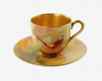Antique Walter Sedgley Royal Worcester Hand Painted Red Pheasant Gilded Demitasse Cup and Saucer Set Artist Signed