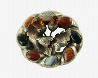 Antique Victorian Cairngorm and Agate Scottish Pebble Double Thistle Motif Silver Brooch Pin