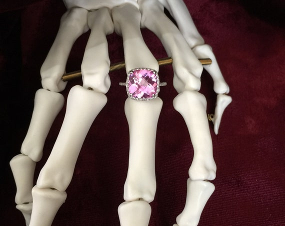 Square checkerboard cut Baby Blush Pink 7.44ctw Sapphire Lab created ring with white Sapphires surrounding