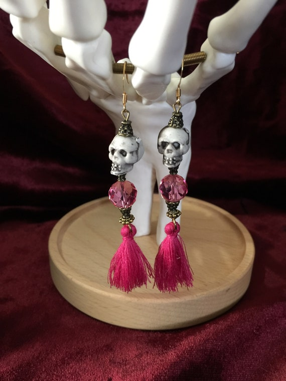 Lovely Pink Skeleton Earrings