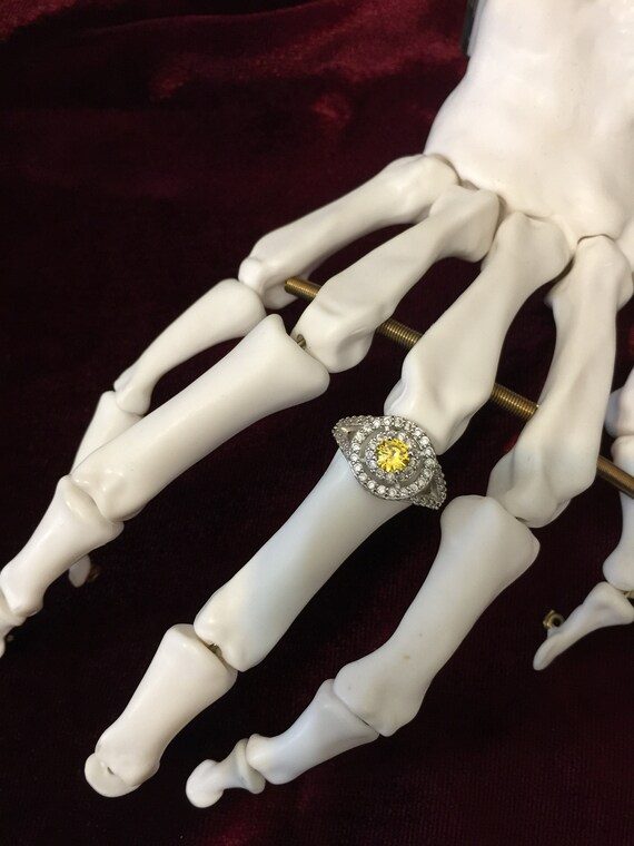 Real Citrine & Lab Created White Sapphire Ring set in 14k White Gold Sz 7