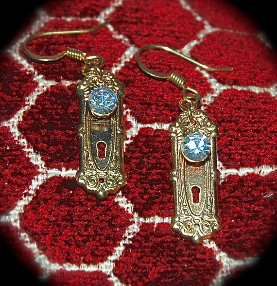 Tiny Crystal Door knob on (GP) Gold-Plated Key Plate Earrings