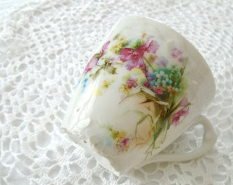 Sweet Vintage China Childs Cup / Floral Tea Cup / Vintage Tea Cup / Shabby Chic Dish / Hand Painted / Pink Flowers / Blue Flowers /Tea Party