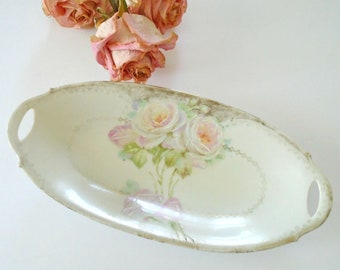 Vintage Pink Rose Dish / Hand Painted Roses / Textured / Oval Rose Dish / Sahbby Chic Dish / Vintage Rose Plate / Candy Dish / Trinket Dish