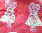 5 Dollar Sale, 2 Bonnet Girl Hand Stitched Applique, Set Of 2, Country Girls, Calico Dresses, Prairie Girls, Vintage Applique Pieces