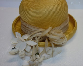 a2dc43a8768 Vintage YVES SAINT LAURENT Raffia Flower Hat