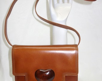 bf31fcd84a Vintage YSL Yves Saint Laurent Couture Square Leather Clutch Crossbody Purse  w large Wooden Heart