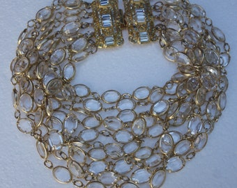 ad089d1315dab0 Vintage YSL Yves Saint Laurent Clear Crystal Svarowski Choker Necklace