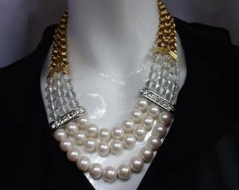 71066918043 YSL Yves Saint Laurent Vintage 80s Pearl Necklace
