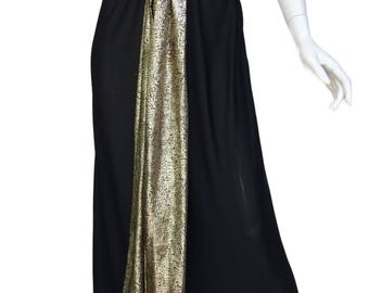 e85627e94 Vintage YSL Yves Saint Laurent rive gauche Long Black Silk-lined evening  dress Lurex Top and Long Lurex Sash/Bow SzFr40