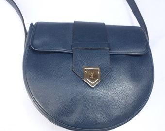 2632d6df68 Vintage YSL Yves Saint Laurent Slate Blue Leather Cross-body/Shoulder Bag