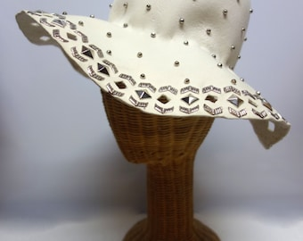d7747736b99 YSL Yves Saint Laurent Very Rare 60s/ 70s Floppy Creme Felt Hat with  Cutouts and Silvertone Metal Embellishments