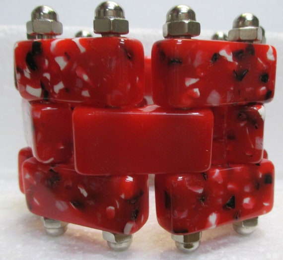 Red Bakelite Confetti and Chrome Bracelet