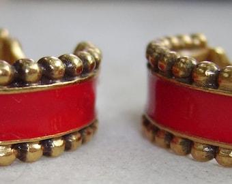 YSL Yves Saint Laurent Red Enamel Hoop  Earrings