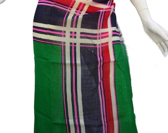 Vintage 1960s/70s YSL Yves Saint Laurent Kelly Green and Pink Wool Scarf w/Eyelash Fringe
