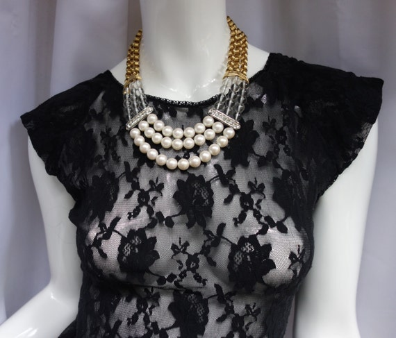63496433f2 YSL Yves Saint Laurent Vintage 80s Pearl Necklace