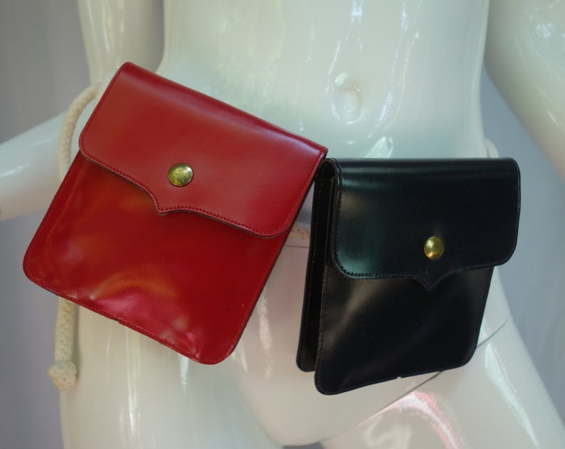 1d4046ea Yves Saint Laurent YSL Red & Black Belt Bags/Waist Bags/Fanny Pack, on  Natural Rope Rare!