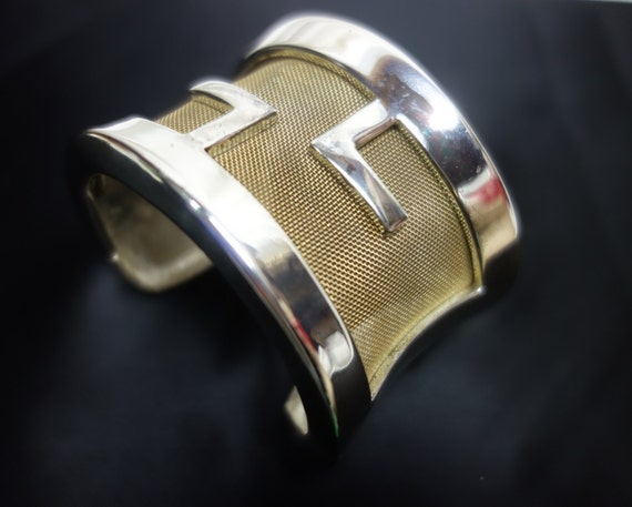 GIVENCHY Vintage 60s Rare Silver and Gilt Mesh Cuf