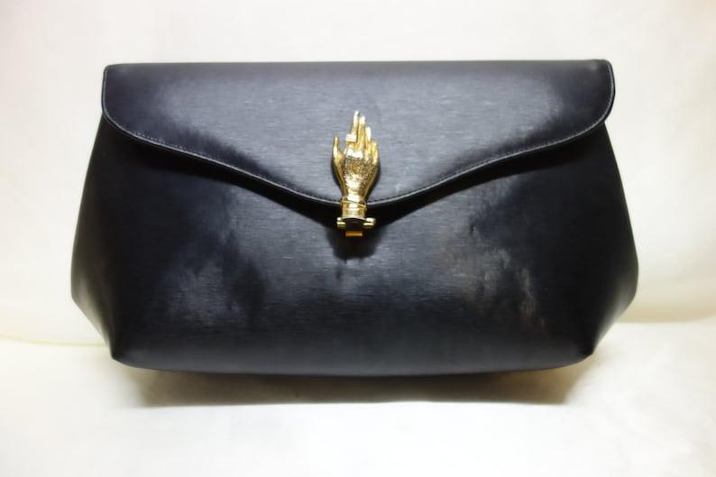 b6c44c7c74f Vintage 50s PRESTIGE Black Leather Evening Bag/Clutch with   Etsy