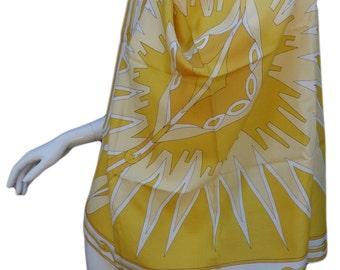 EMILIO PUCCI Vintage 60s Yellow Crepe de Chine Silk Scarf