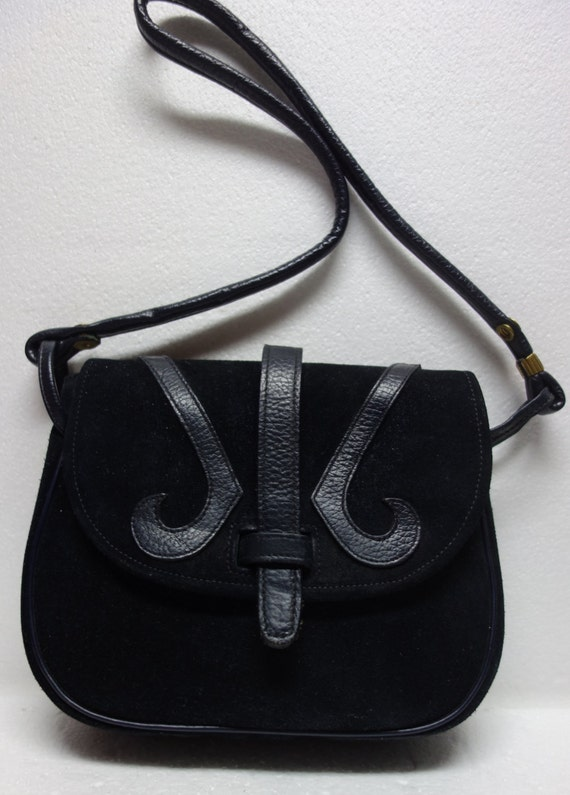 Vintage ROGER VAN S Black Suede and Leather Purse