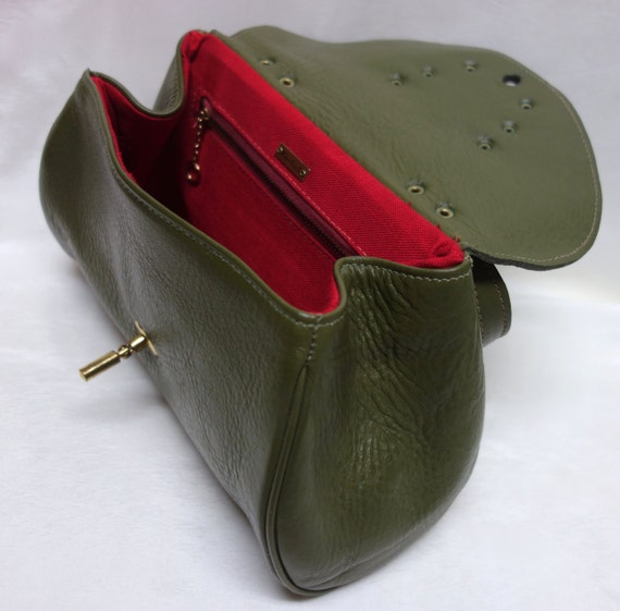 Vintage 60s ROGER VAN S Olive Pebbled Leather Hand