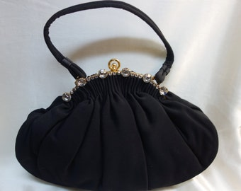 INGBER Black Evening Bag with Crystal encrusted Frame