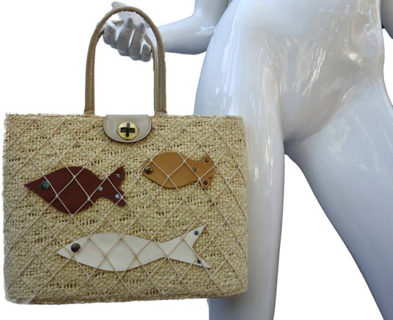 Vintage ROGER VAN S Burlap and Leather Fish Purse