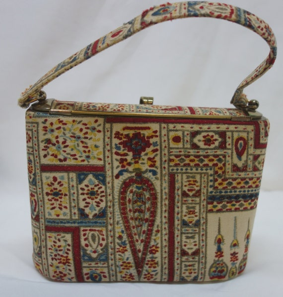 INGBER 40s 50s Oval Fabric Covered Box Purse