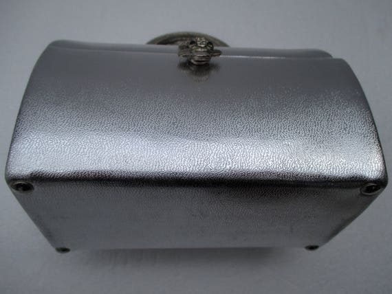 Vintage ARNOLD SCAASI Silver Leather Domed Box Pu… - image 8