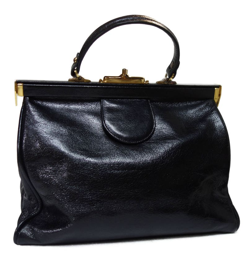 de2097eb71eb BON GOUT Vintage Large Black Leather Handbag